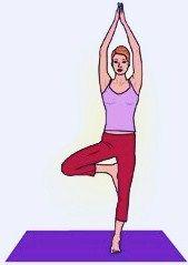 йога для спины, поза дерева