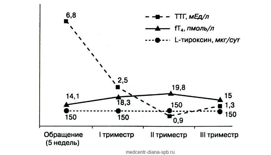 Динамика дозы L-тироксина и данных гормонального исследования у пациентки с субклиническим гипотиреозом на протяжении беременности